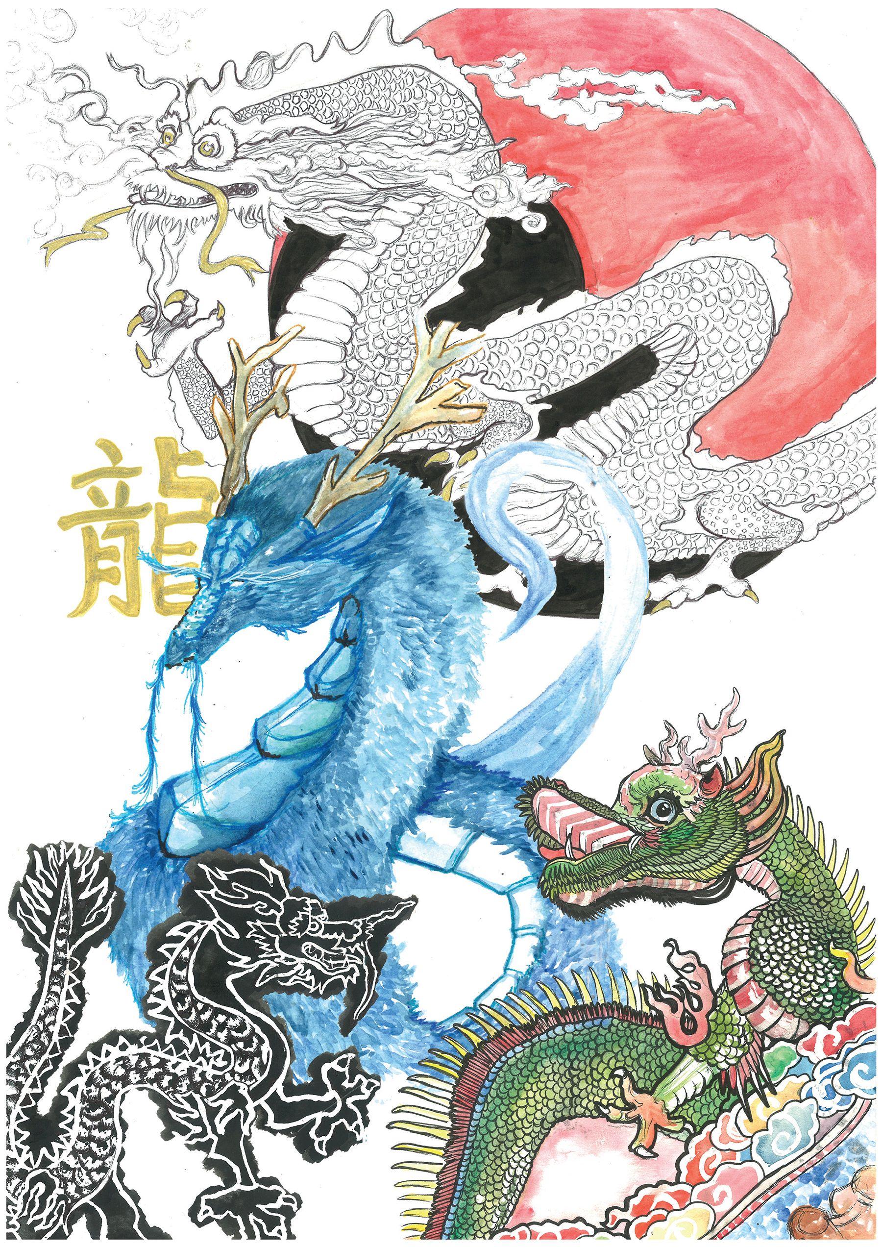 Etude de dragons asiatiques
