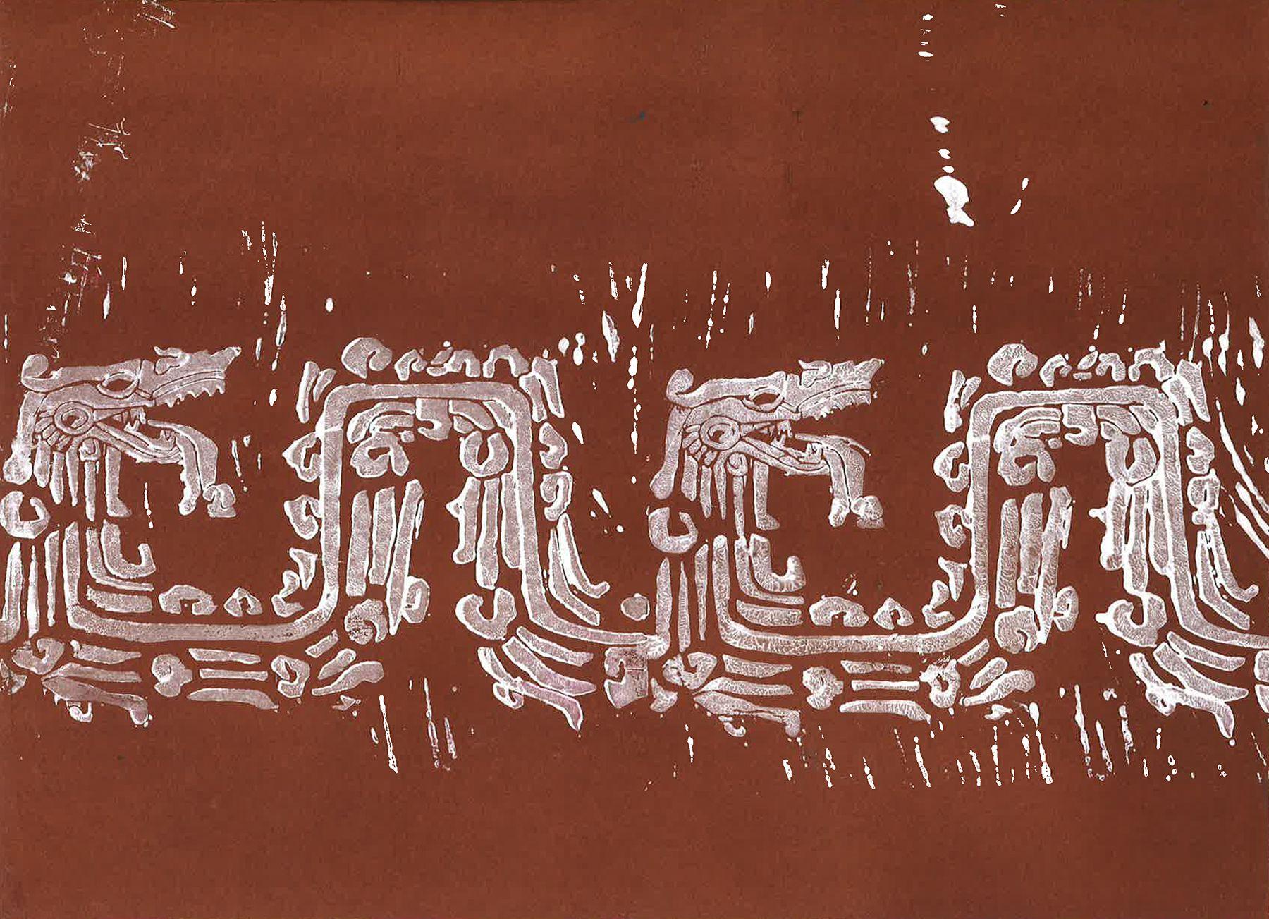 Linogravure d'un serpent inca