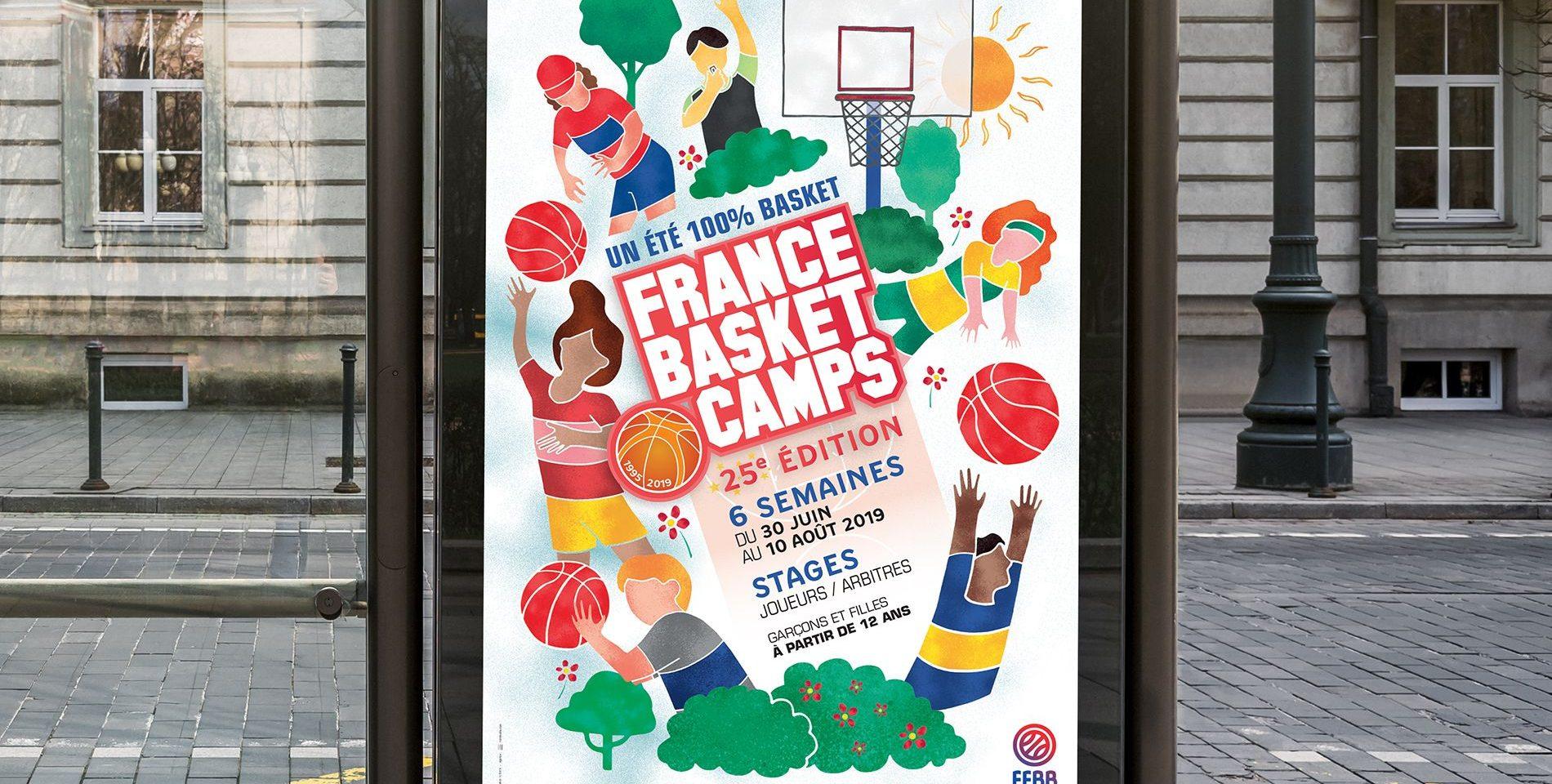 Abri bus affiche France Basket Camps