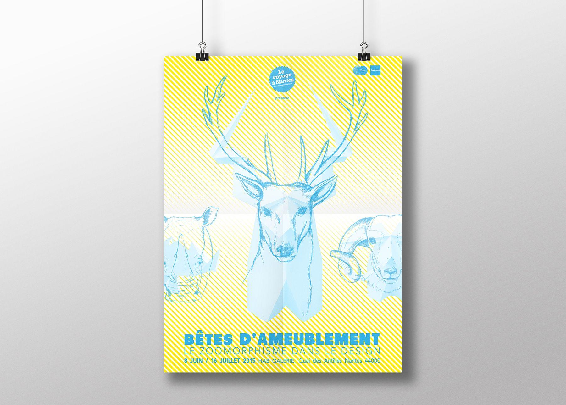 """Affiche de l'exposition """"Bêtes d'Ameublement"""" à la française"""