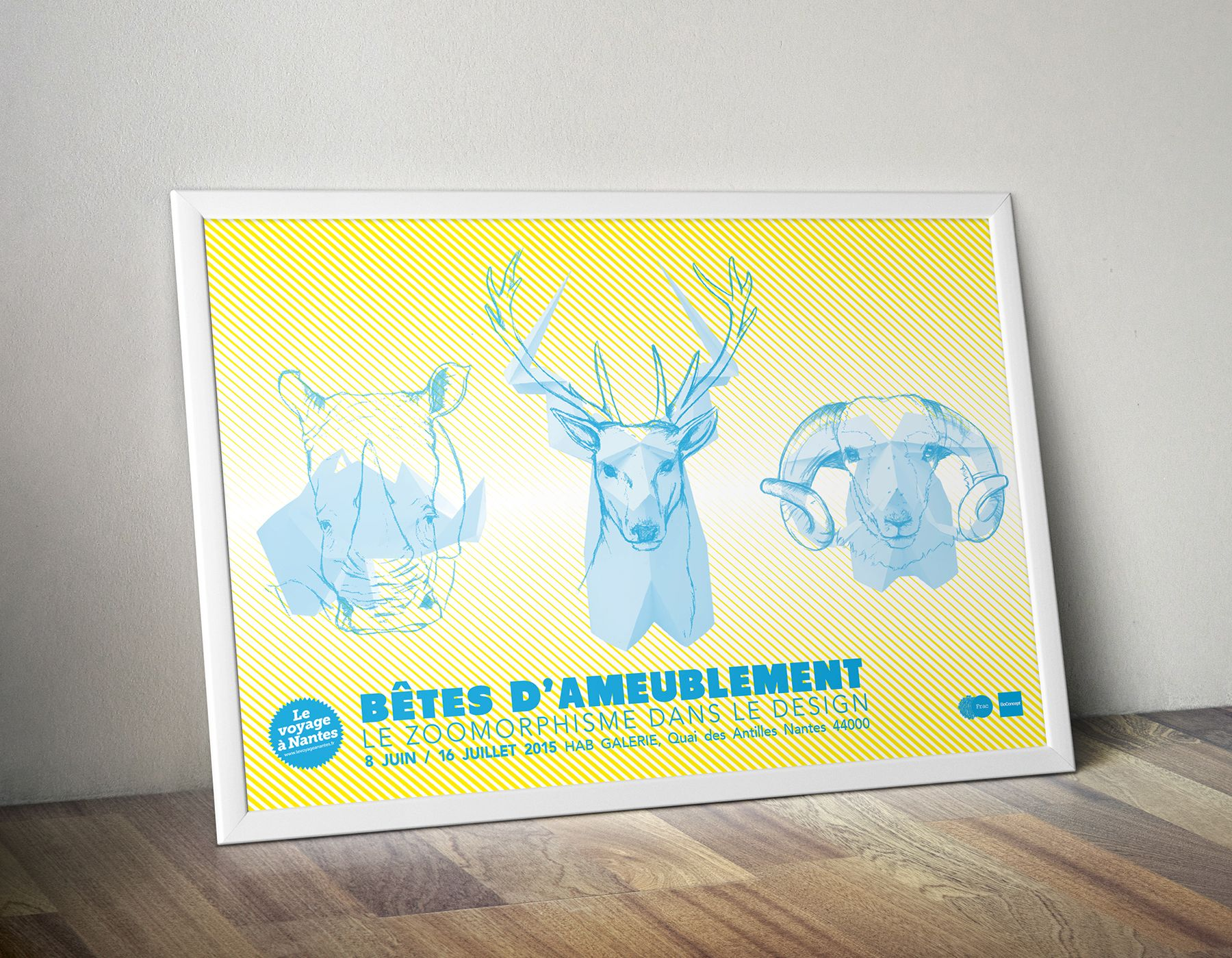 """Affiche de l'exposition """"Bêtes d'Ameublement"""" à l'italienne"""